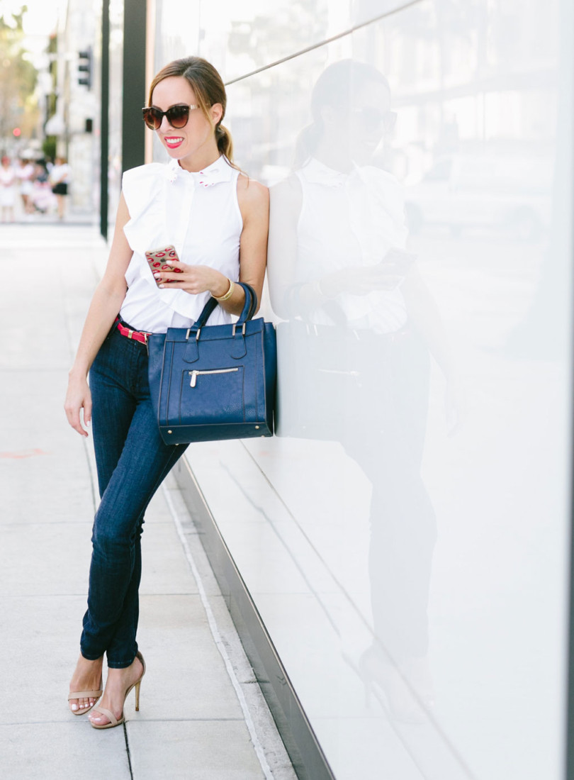 sydne-style-shows-shwat-to-wear-with-skinny-jeans-white-button-down-shirt-red-white-blue-fashion