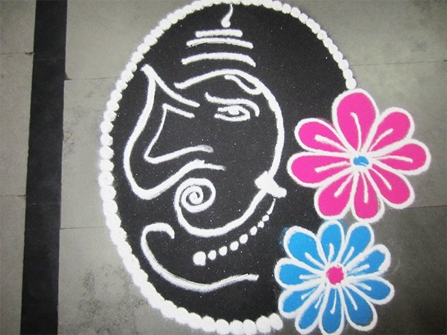 44 Ganesh Rangoli Designs and Ideas That You Should Try