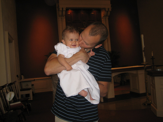 Dad gave you kisses on your chubby cheeks because he couldn't resist your cuteness.