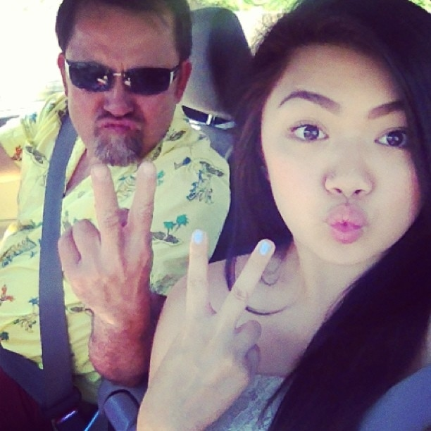 Because dad doesn't mind silly selfies.