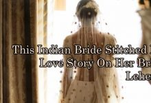 Photo of This Indian Bride Stitched Her Love Story On Her Bridal Lehenga