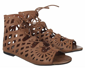 Footilicious Solid Brown Coloured Synthetic Gladiators