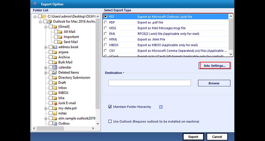 OLM to CSV converter